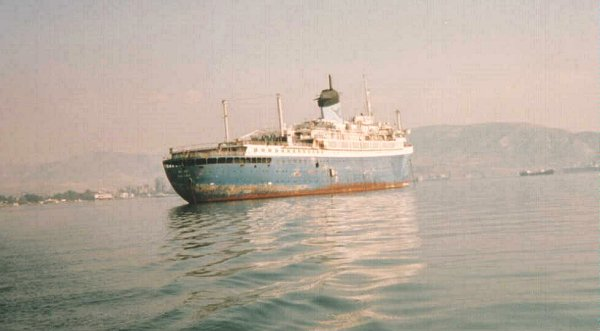 The Alferdoss moored in Eleusis Bay, Greece.