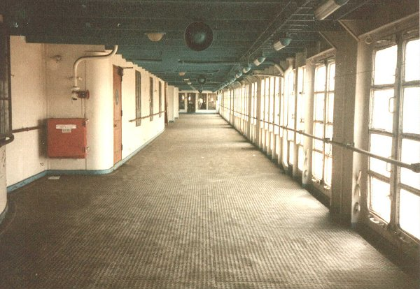 Starboard view of the Promenade deck.